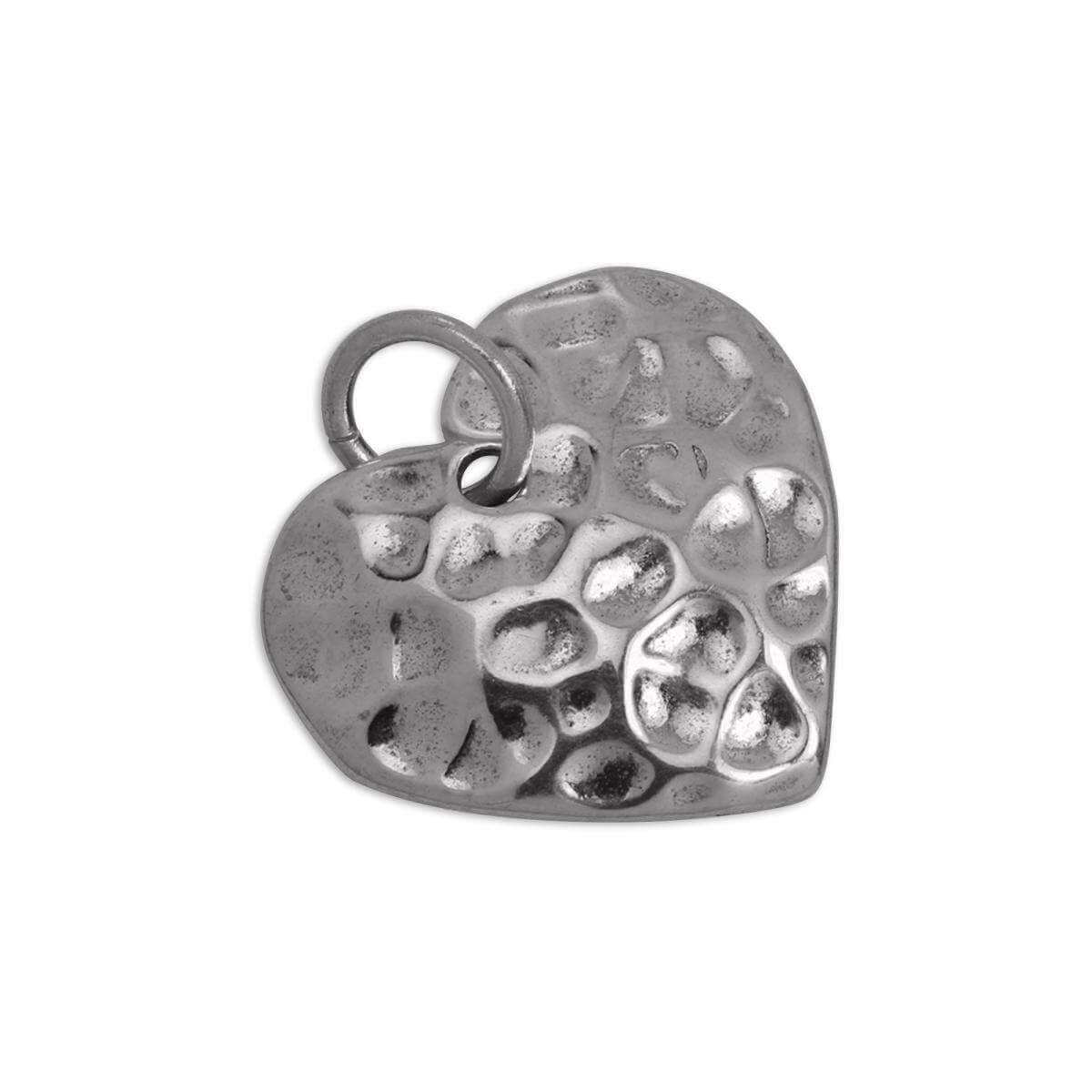 Sterling Silver Hammered 13mm Heart Charm