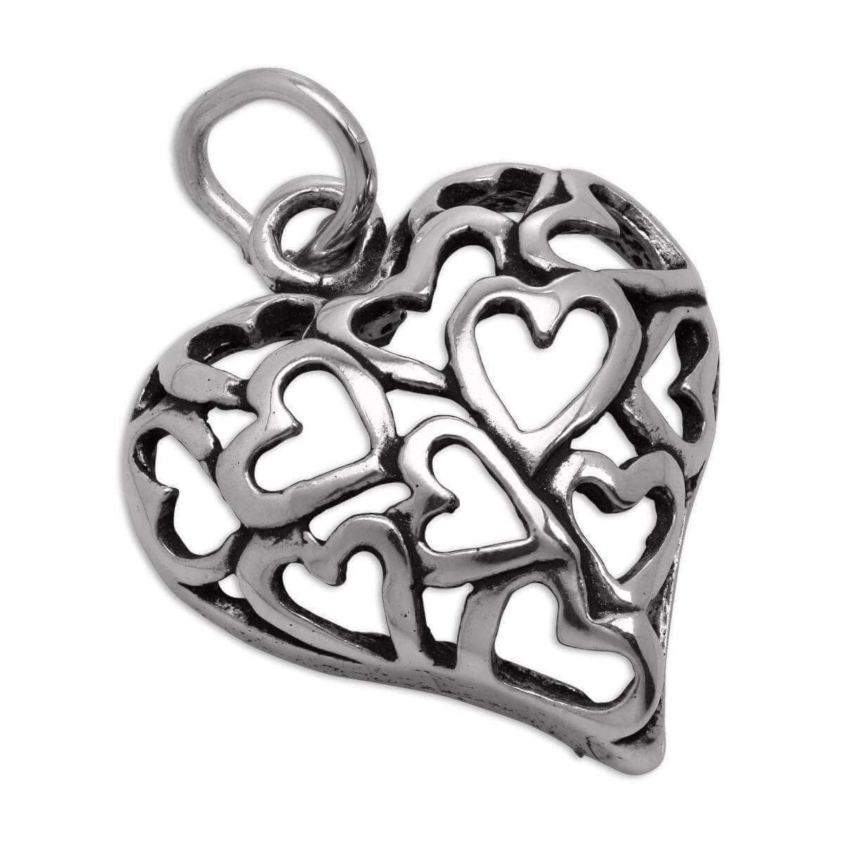 Sterling Silver Open Hearts Cut Out Puffed Heart Charm