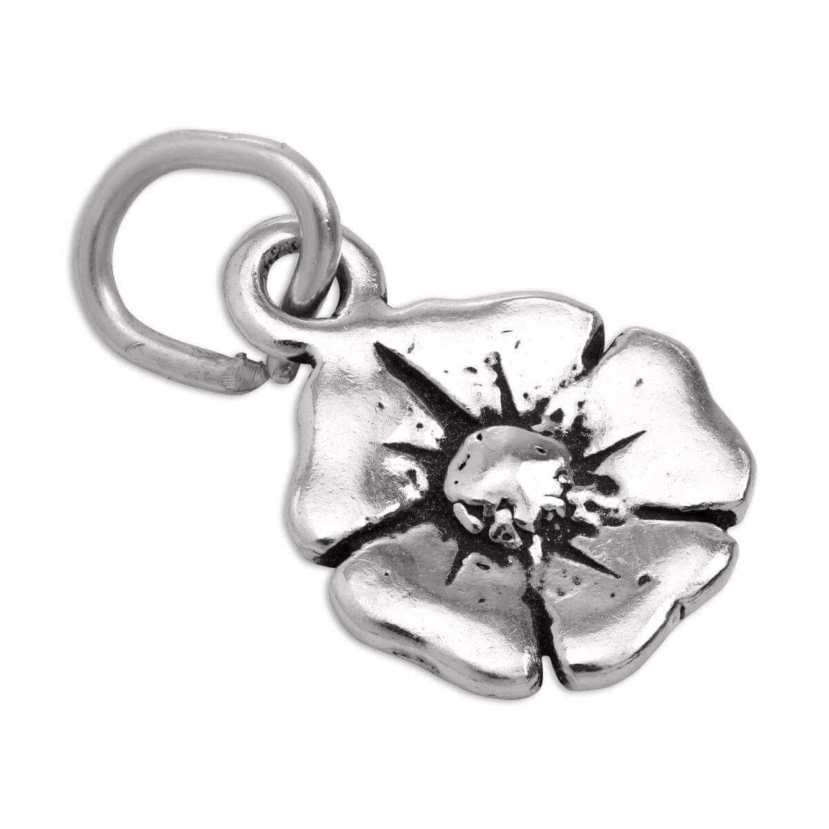 Tiny Sterling Silver Flat Flower Charm