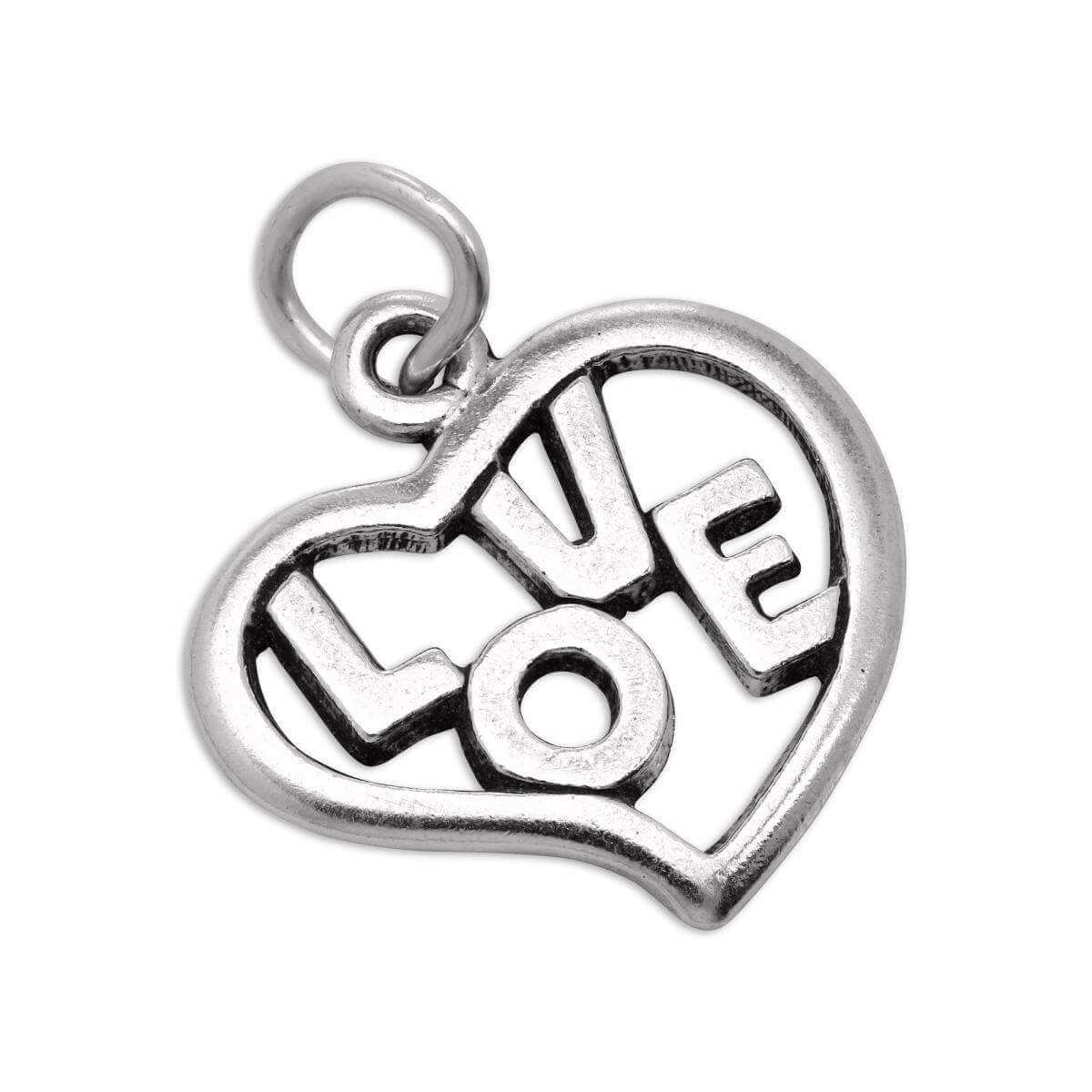 Sterling Silver Open Love Heart Charm