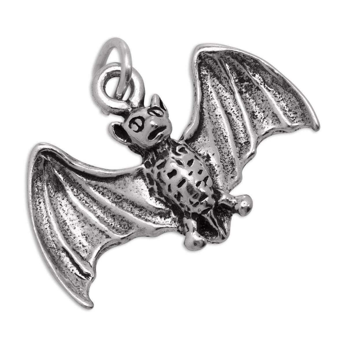 Sterling Silver 3D Flying Bat Charm
