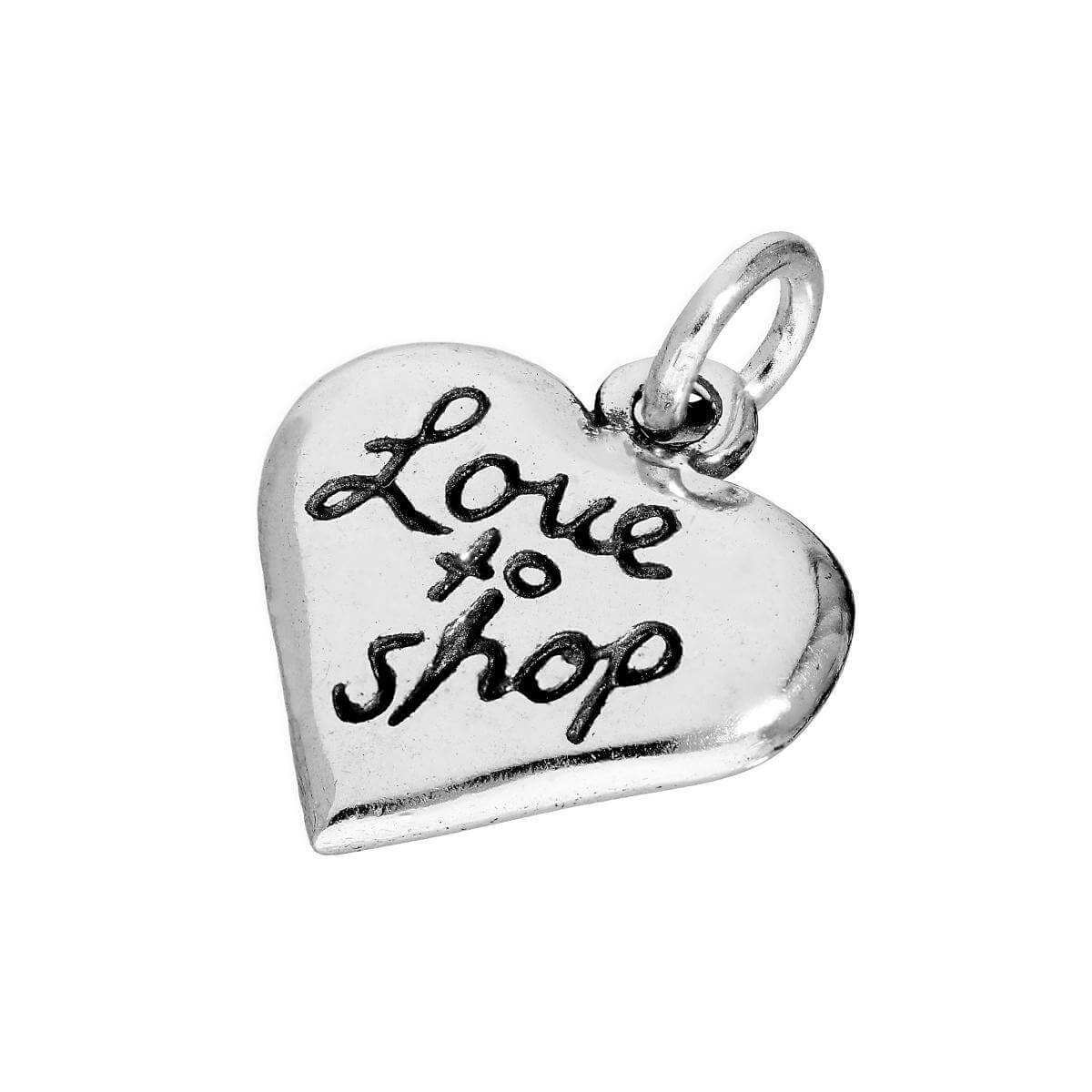 Sterling Silver Love To Shop Heart Charm