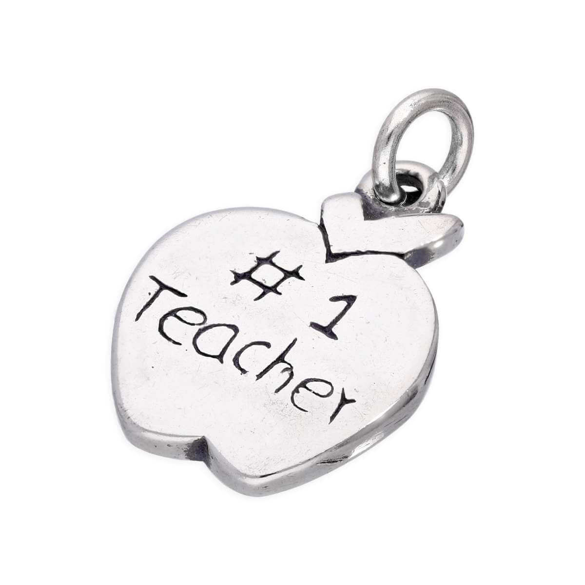 Sterling Silver Number 1 Teacher Apple Charm