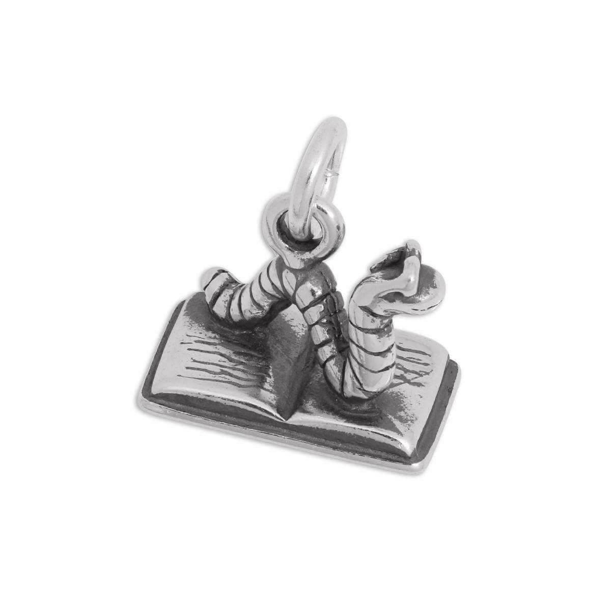 Sterling Silver Bookworm Charm
