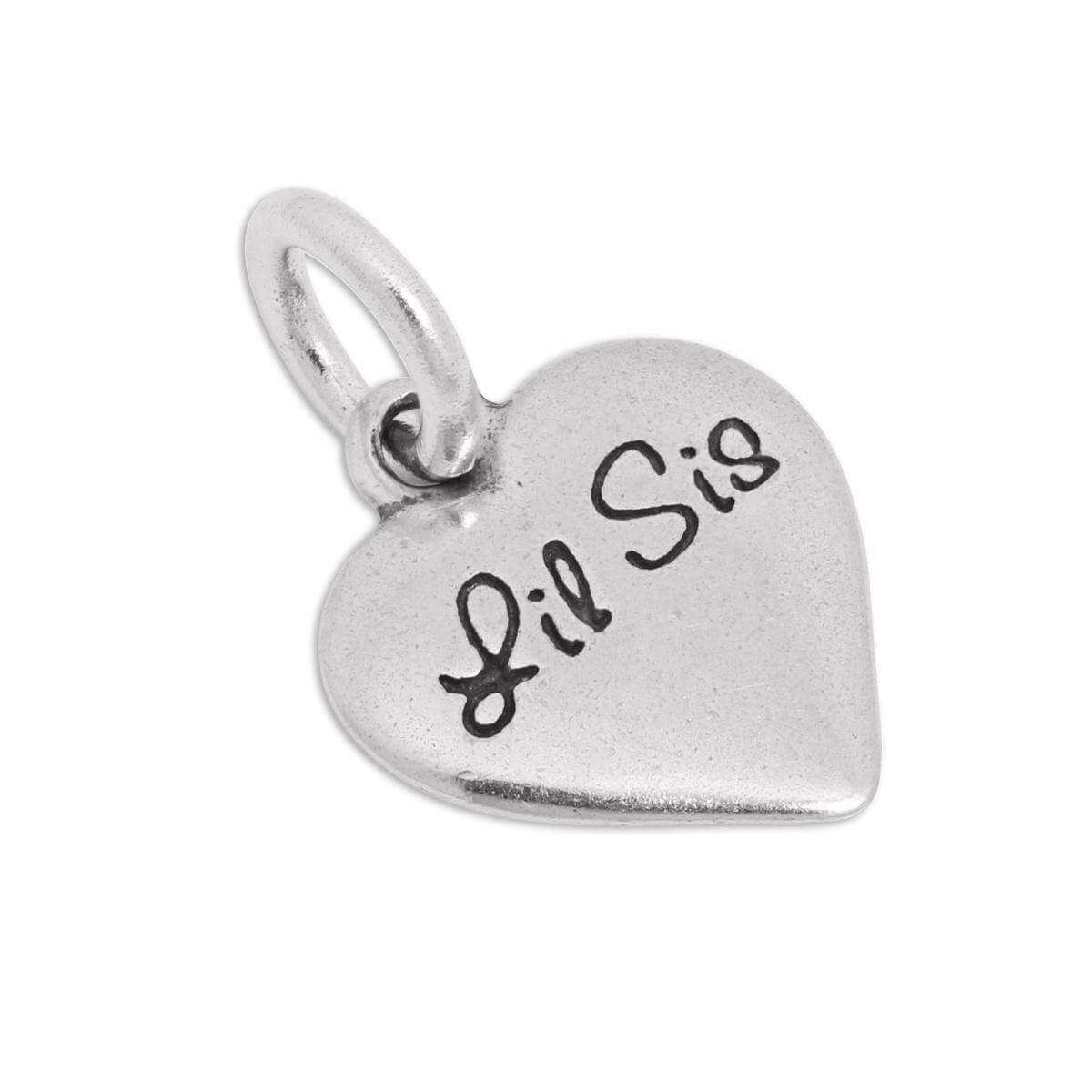 Sterling Silver Lil Sister Heart Charm