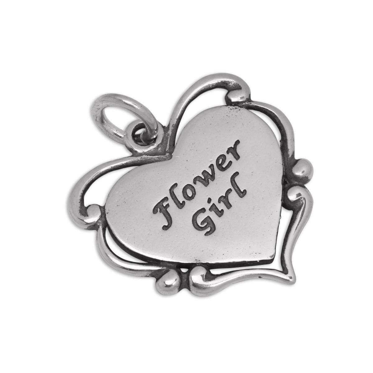 Sterling Silver Flower Girl Heart Charm
