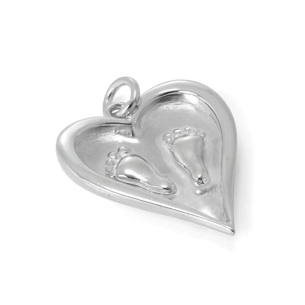 Large Sterling Silver Baby Feet in Heart Charm