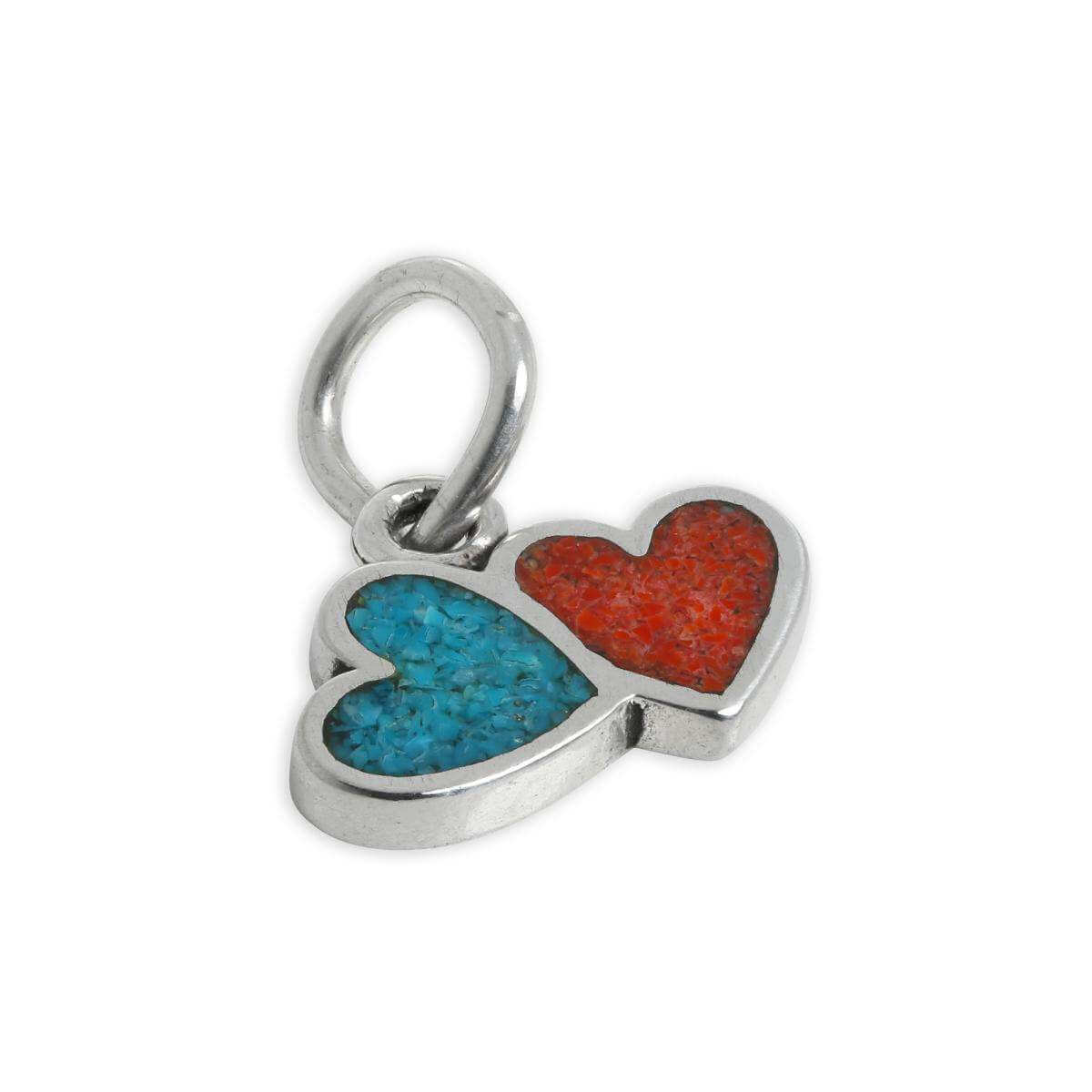Sterling Silver Turquoise & Red Enamel Double Heart Charm