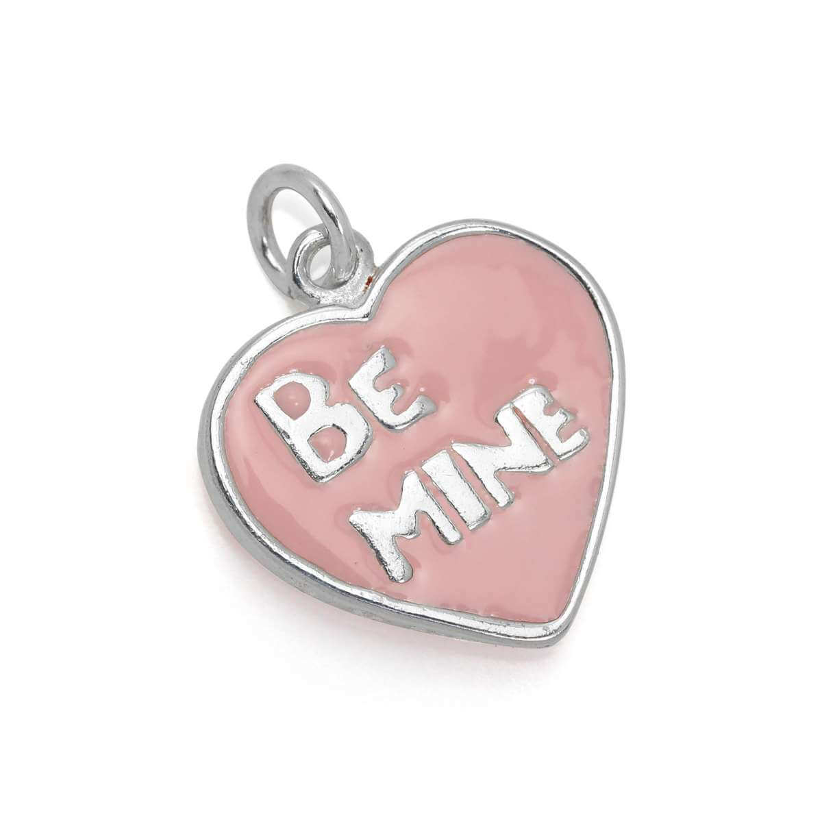Sterling Silver & Pink Enamel Be Mine Heart Charm