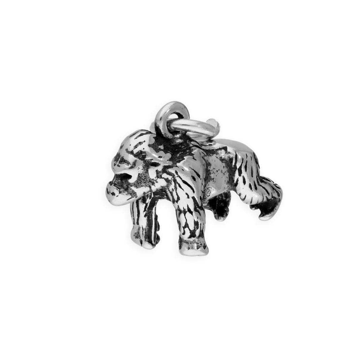 Raposa Elegance Sterling Silver 3D Sitting Puppy Charm on a Sterling Silver 16 Ball Chain Necklace