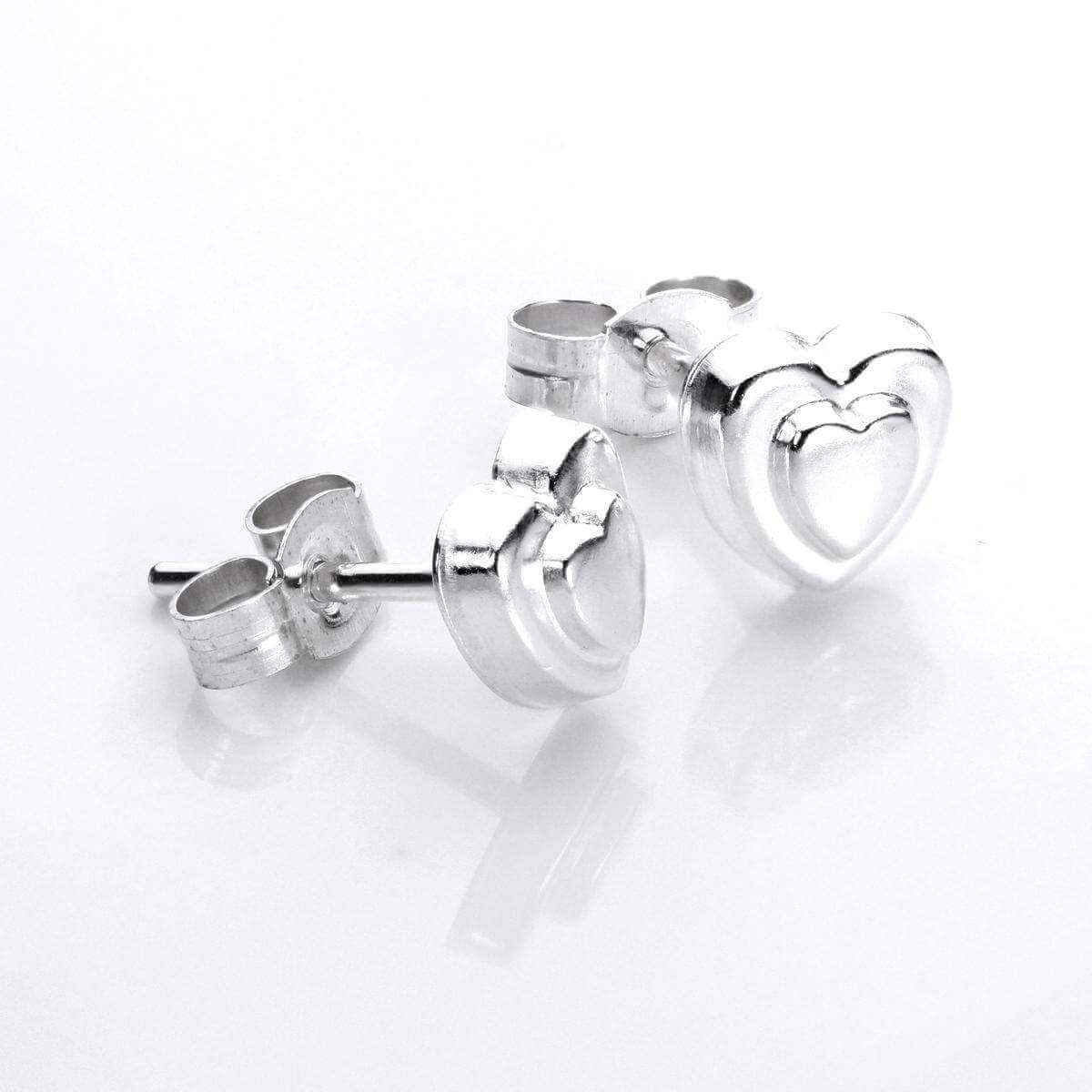 Sterling Silver Raised Heart Stud Earrings