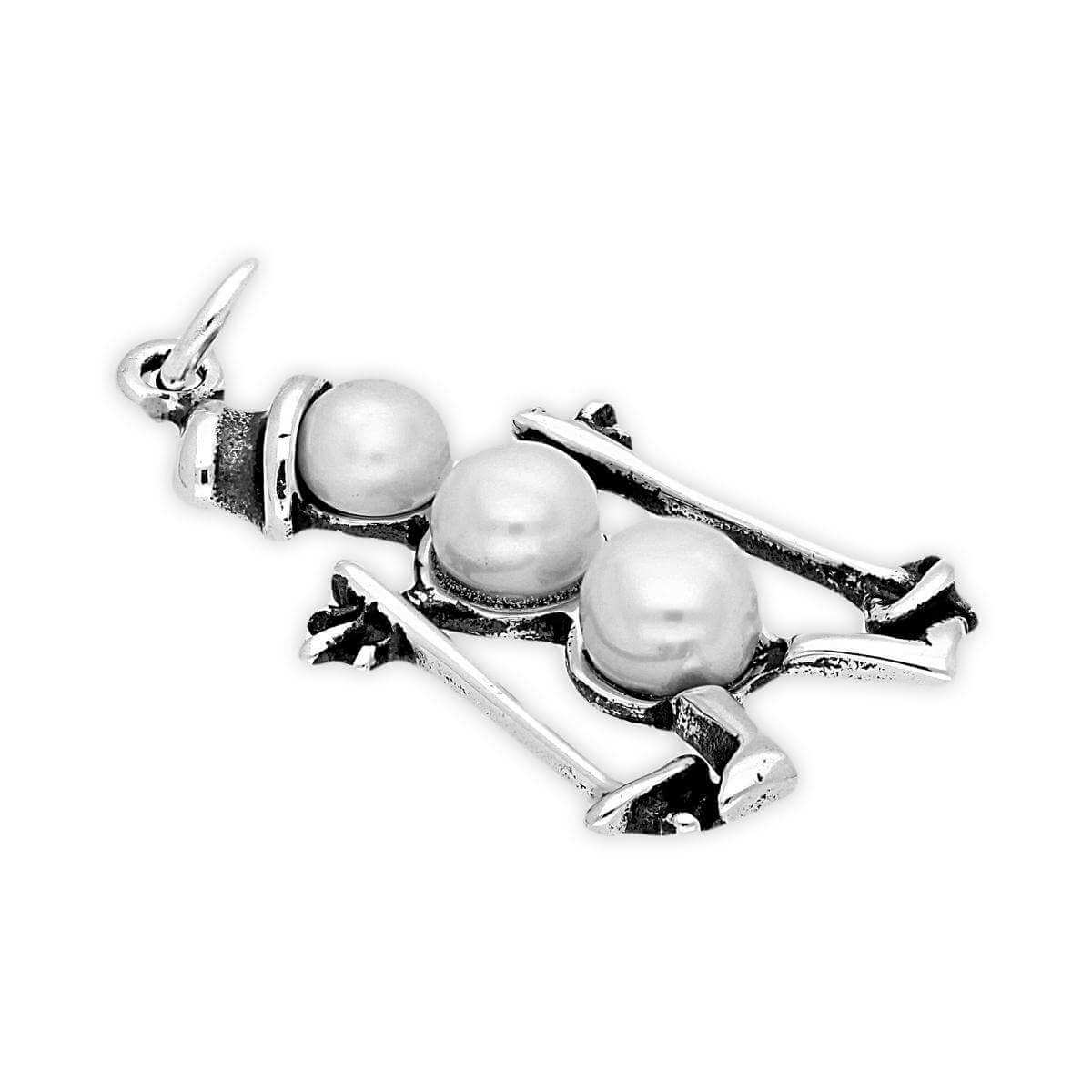 Sterling Silver Snowman on Skis Charm