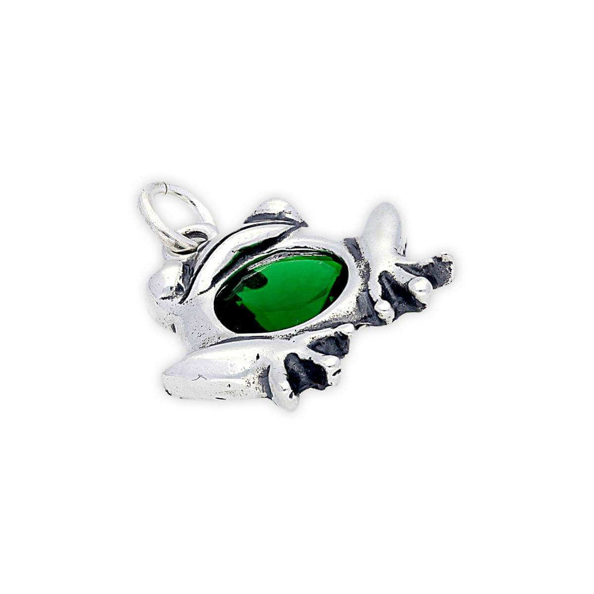 Sterling Silver Crystal Frog Charm