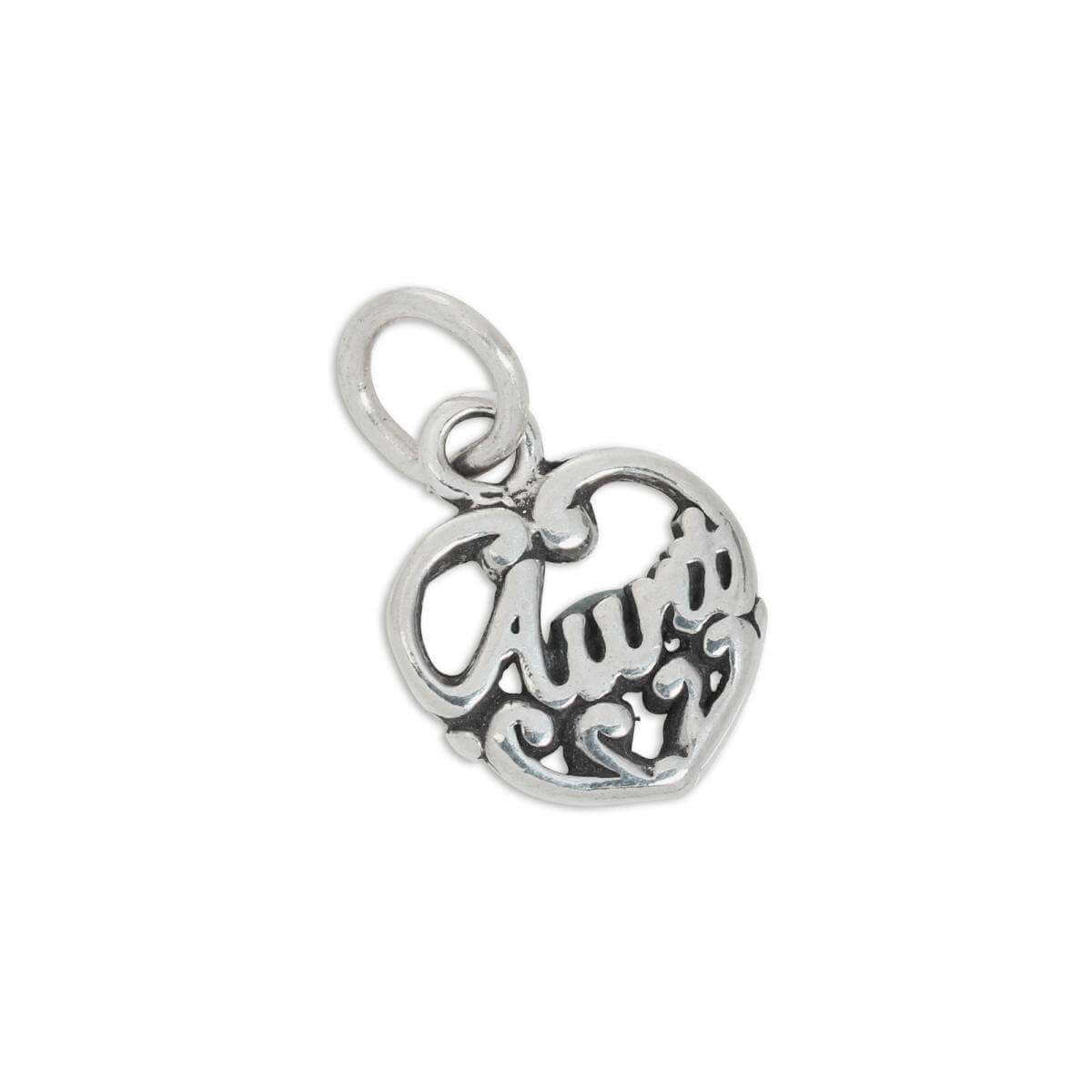 Sterling Silver Filigree Aunt Love Heart Charm
