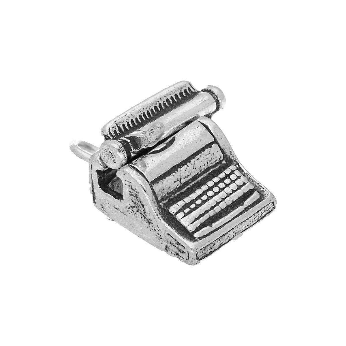Sterling Silver Typewriter With Moving Shuttle Charm