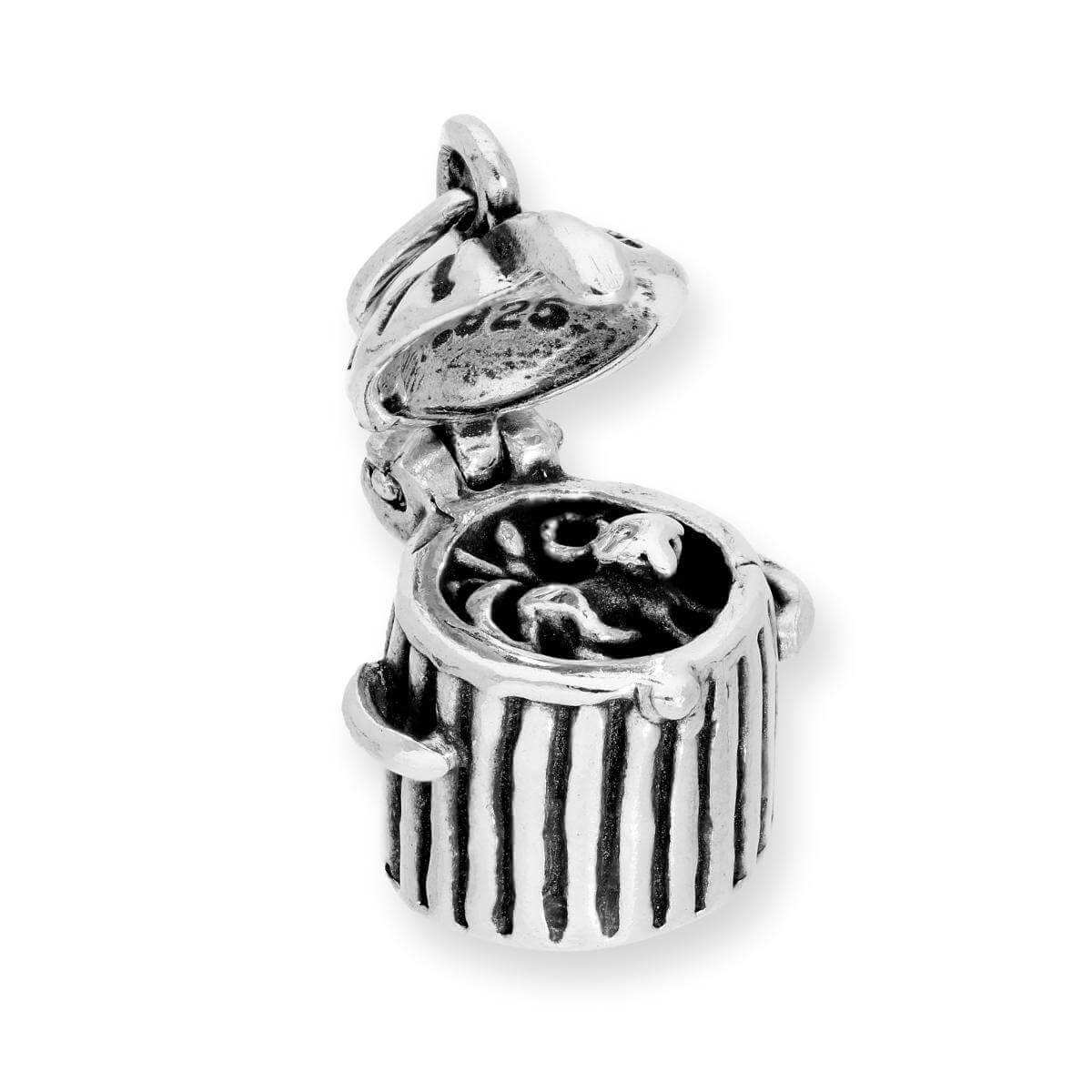 Sterling Silver Opening Cat in Trash Can Charm