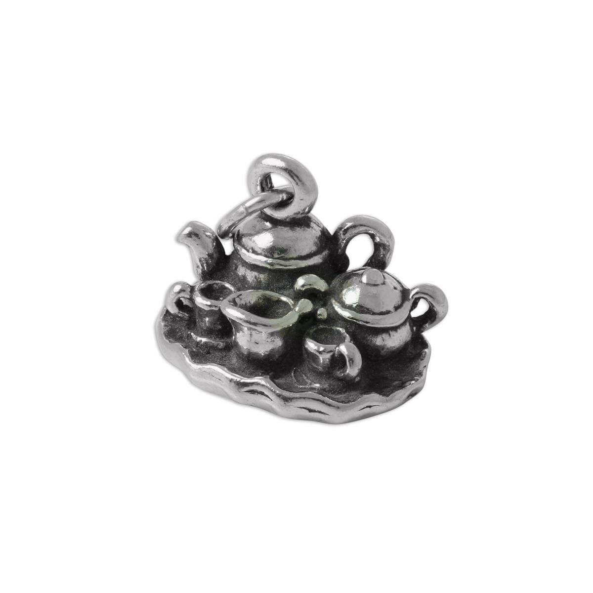Sterling Silver 3D Tea Set Charm