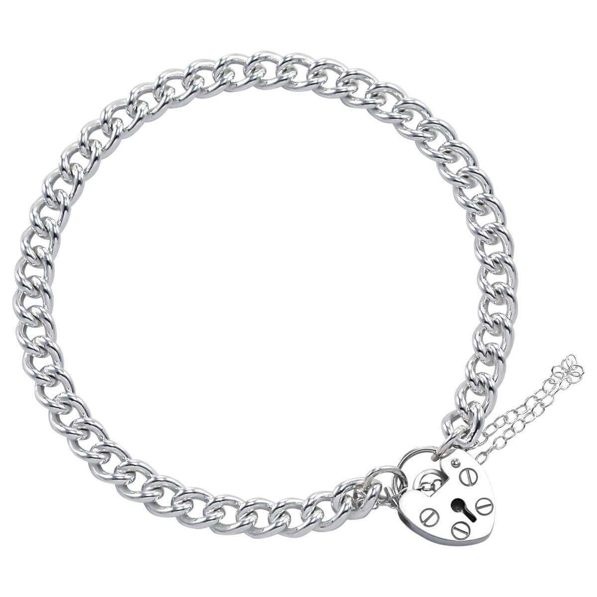 Sterling Silver Single Curb Charm Bracelet
