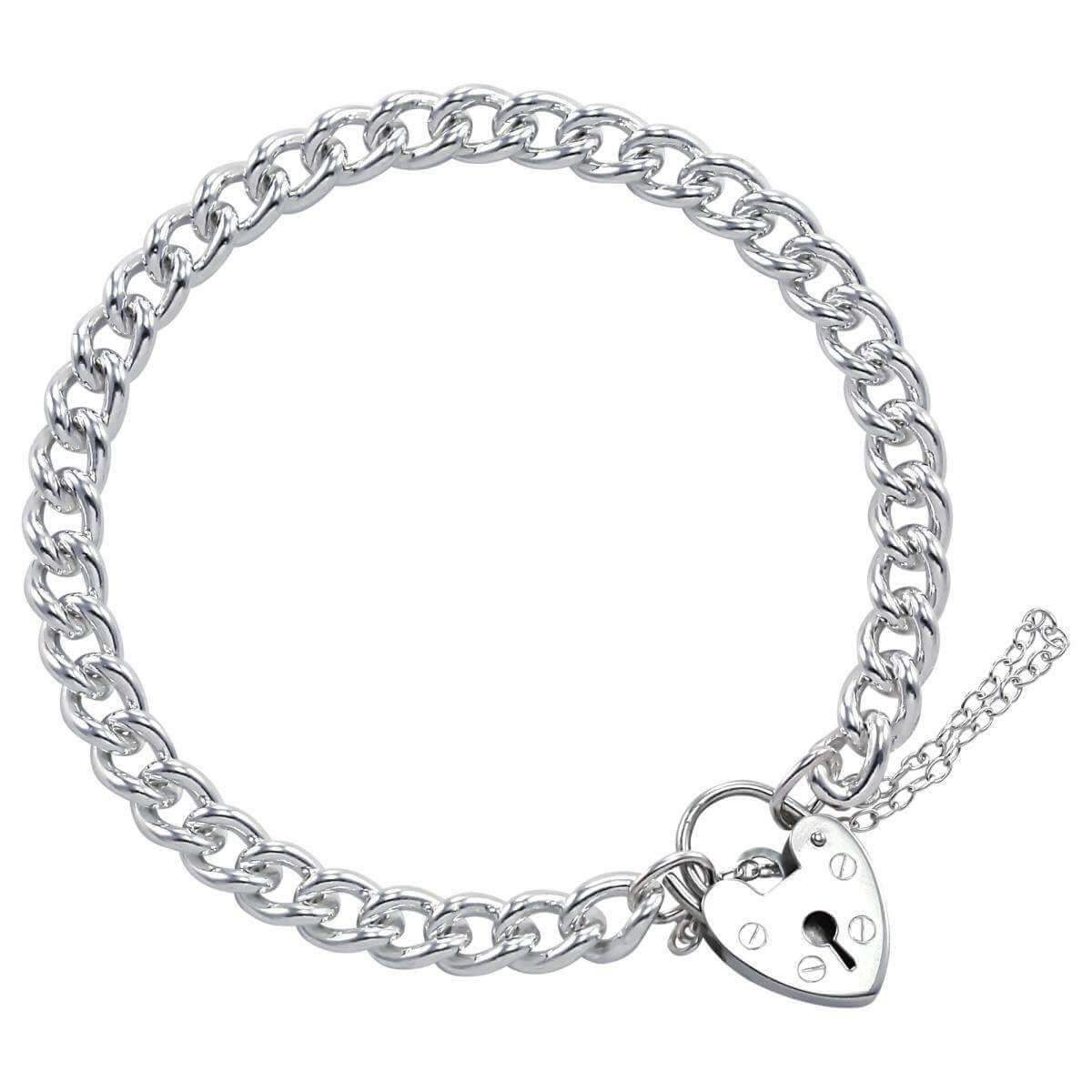 Sterling Silver Single Curb Charm Bracelet With Heart Clasp