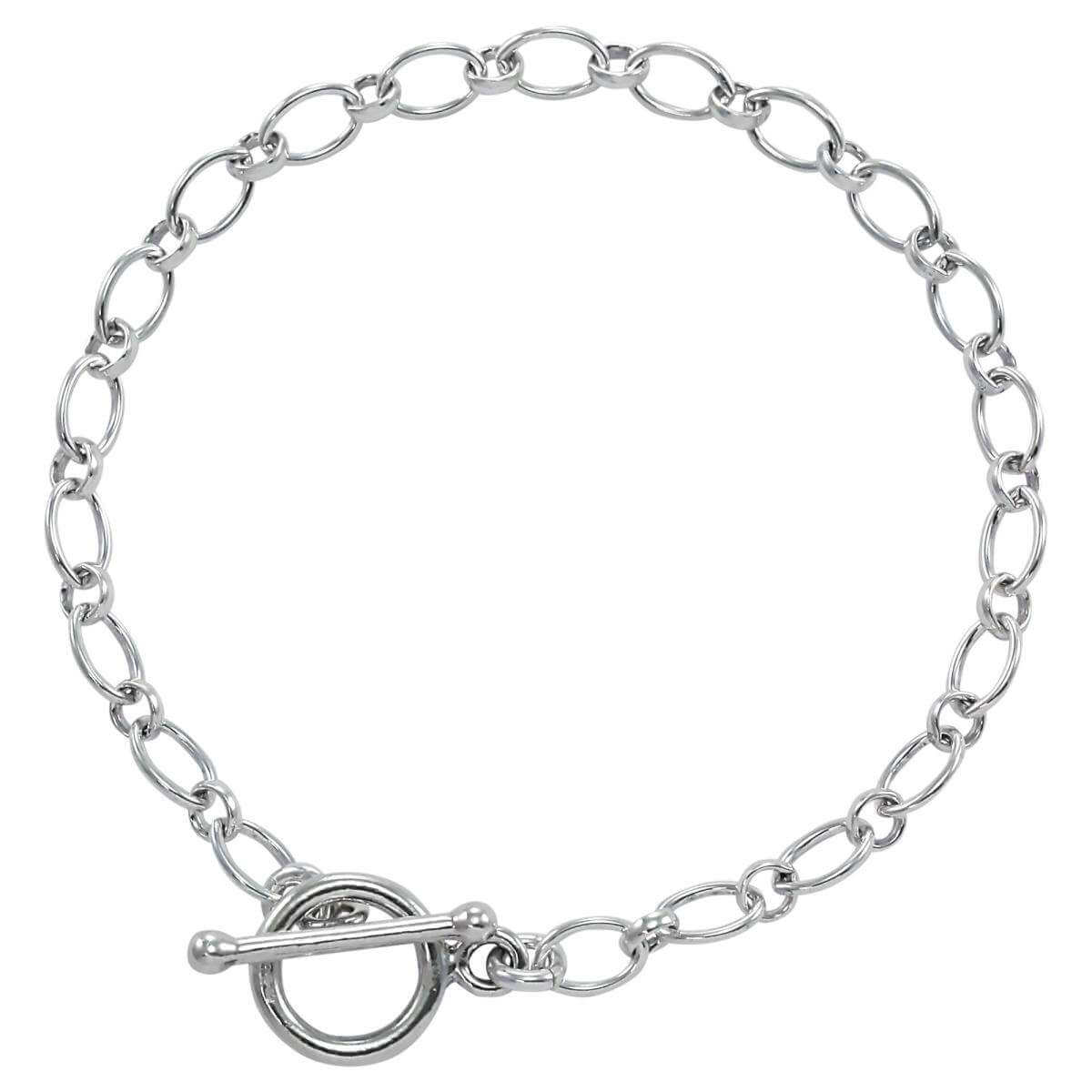 Sterling Silver Long and Short Charm Bracelet