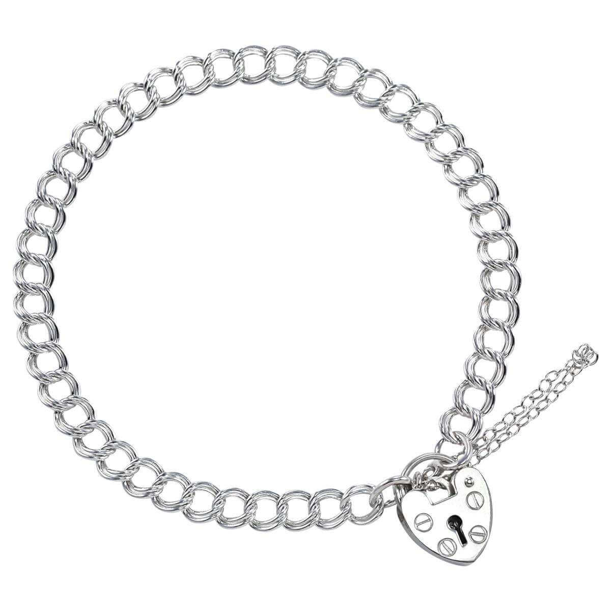 Sterling Silver Double Curb Charm Bracelet