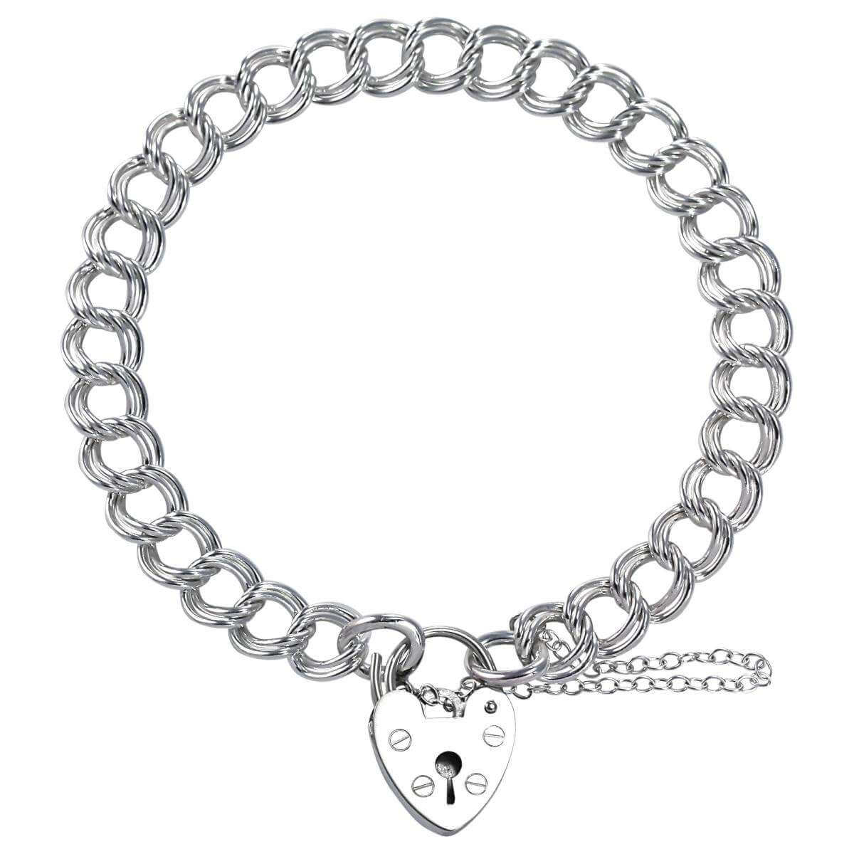Sterling Silver Heavy Double Curb Charm Bracelet
