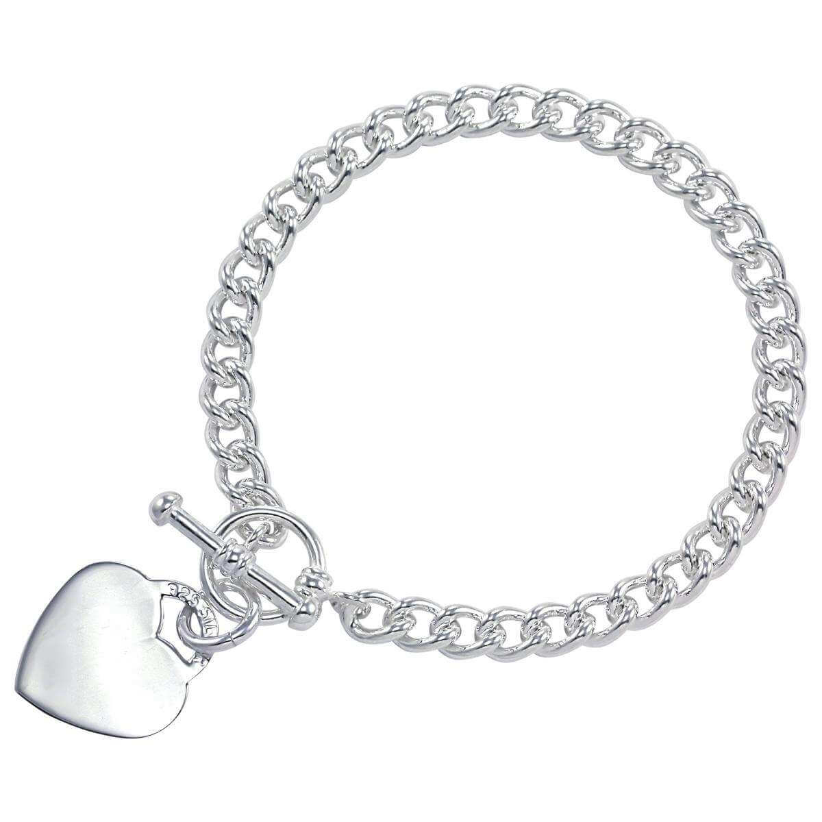 Sterling Silver Curb Bracelet With Heart Toggle