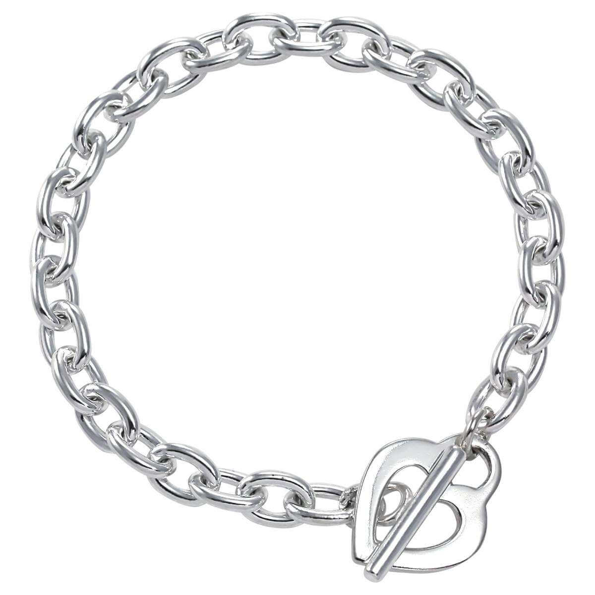 Sterling Silver Cable Chain Bracelet With Heart Toggle