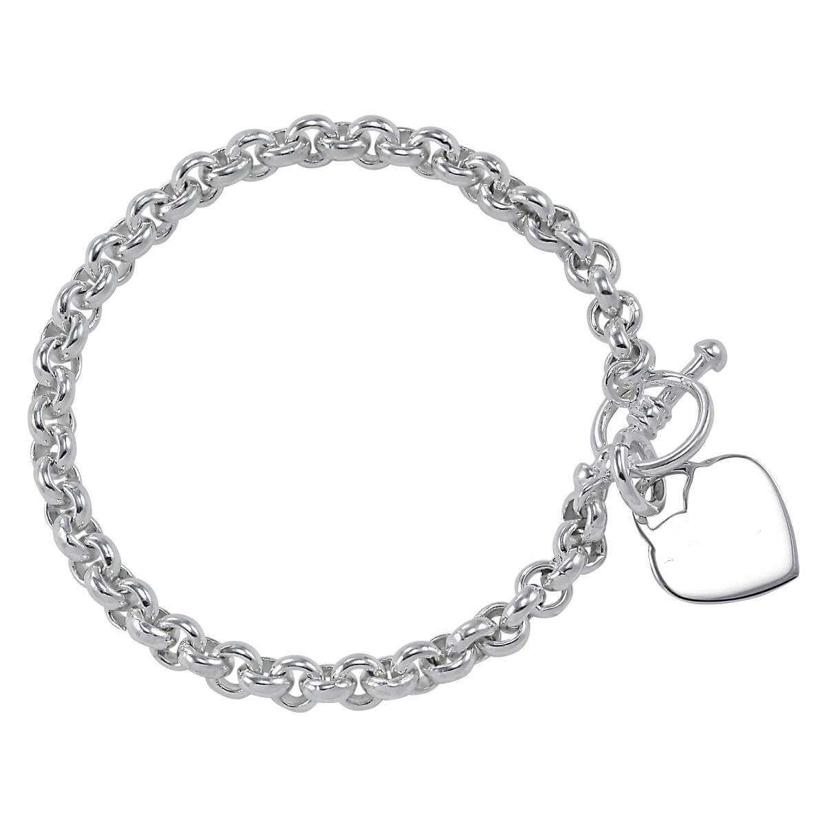 Sterling Silver Belcher Bracelet with Heart Tag