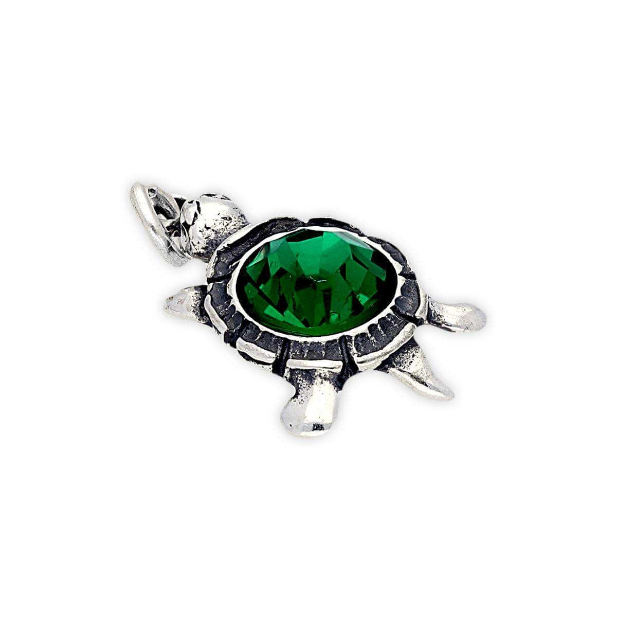 Sterling Silver Turtle with Green Crystal Charm
