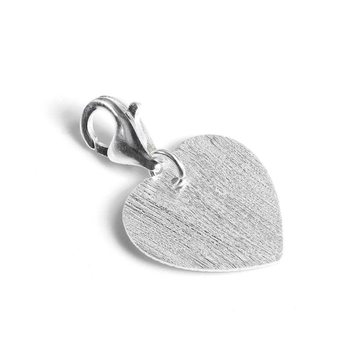 Sterling Silver Matt Finish Flat Heart Clip on Charm