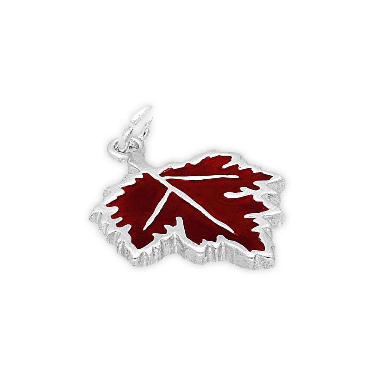 Sterling Silver Enamelled Maple Leaf Charm