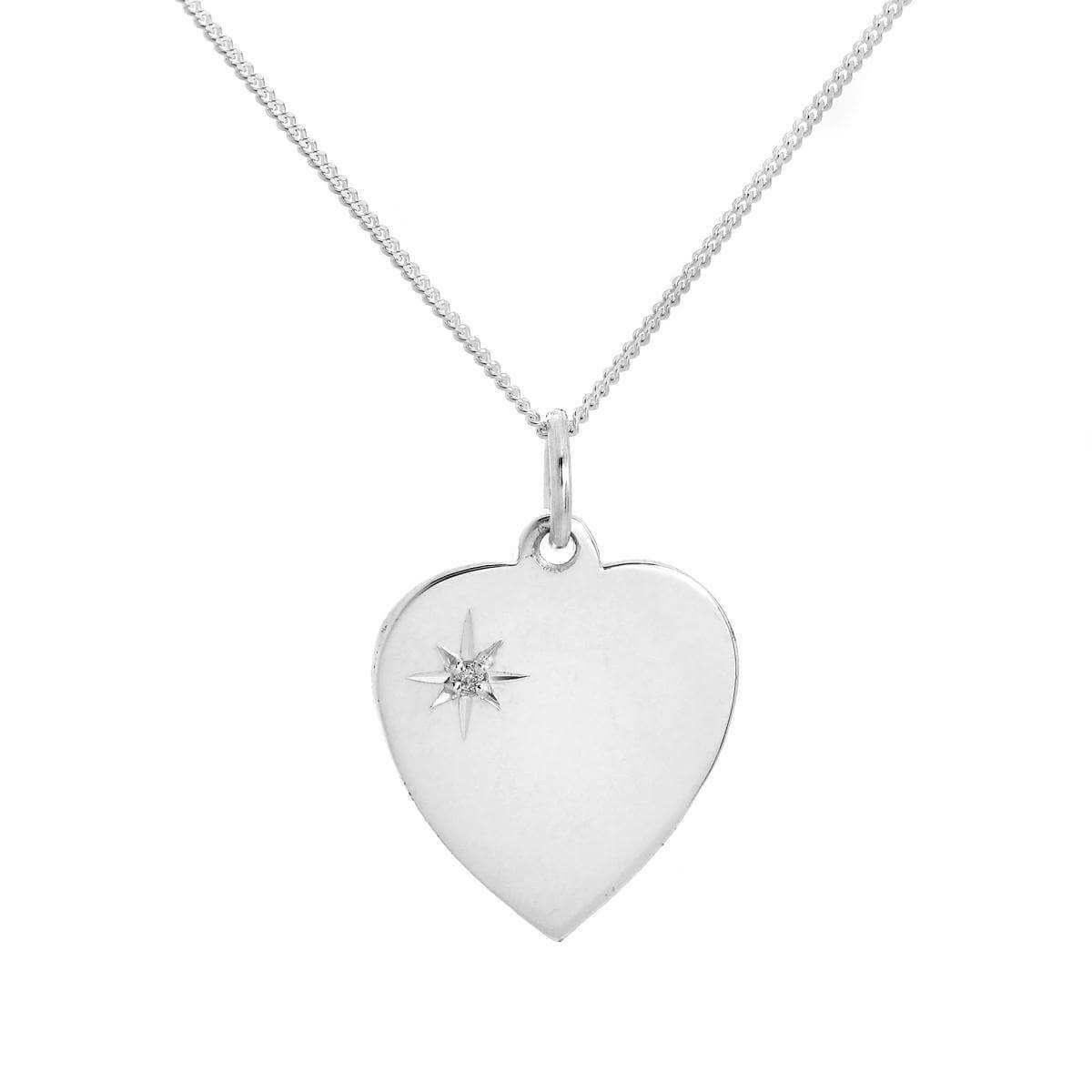 Sterling Silver & Diamond Engravable Heart Pendant on Chain