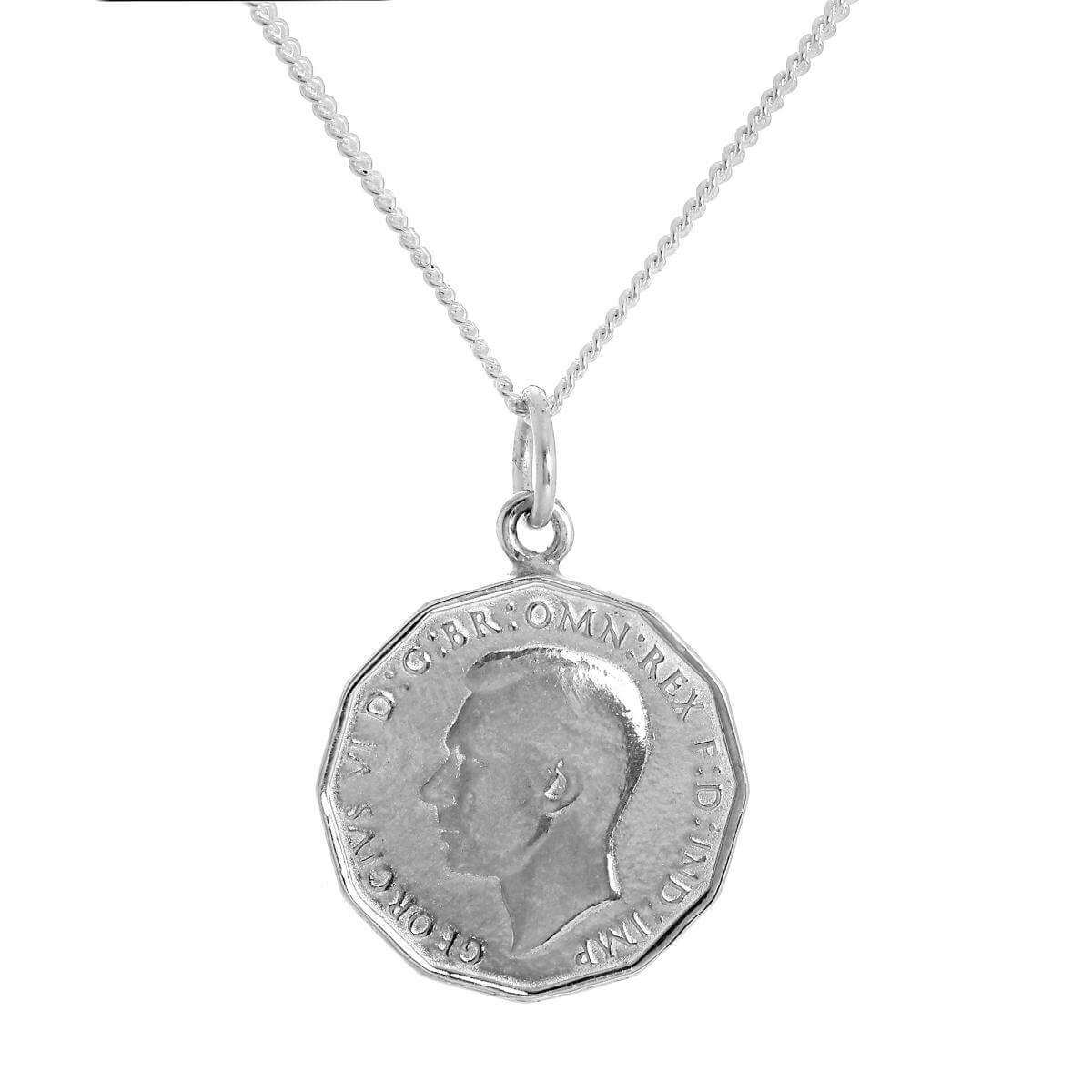 Sterling Silver Three Pence Pendant on Chain