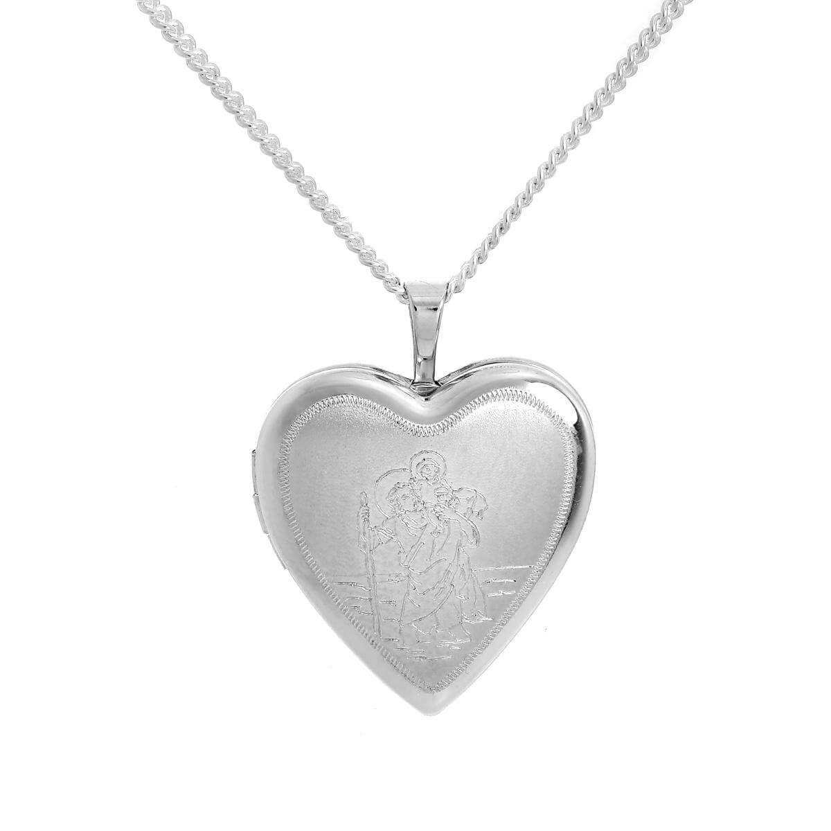 Sterling Silver Engraved St Christopher in Love Heart Locket on Chain