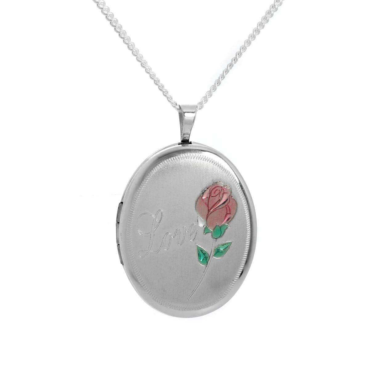 Brushed Sterling Silver Oval Rose Love Locket on Chain