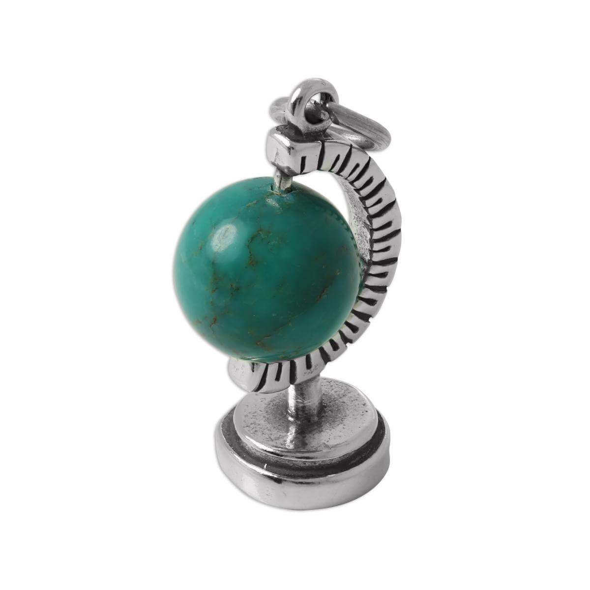 Sterling Silver 3D Moving Globe Charm