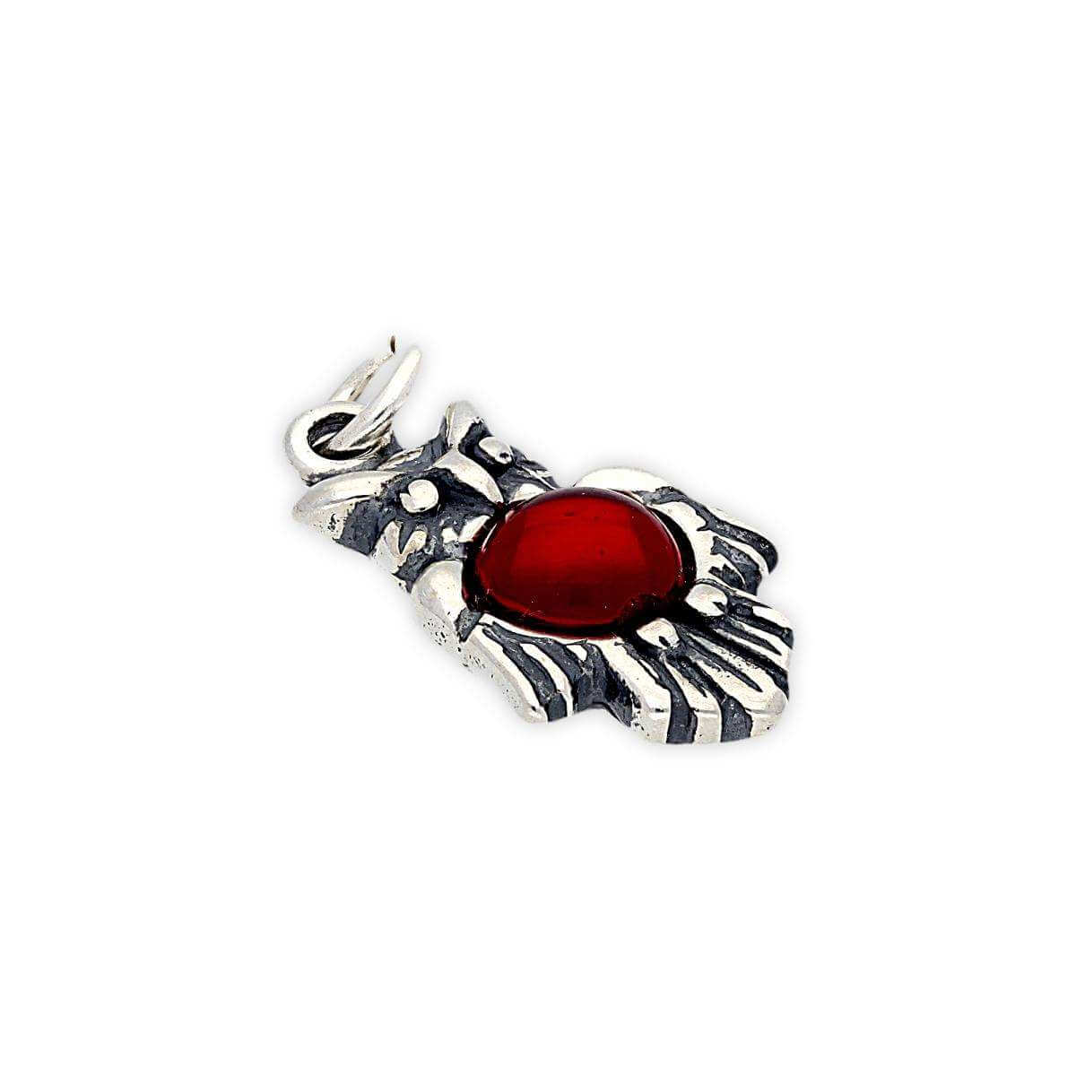 Sterling Silver and Red Crystal Owl Charm