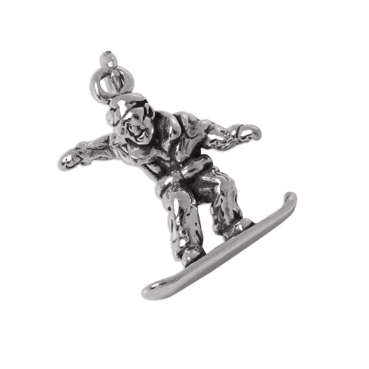 Sterling Silver 3D Snow Boarder Charm