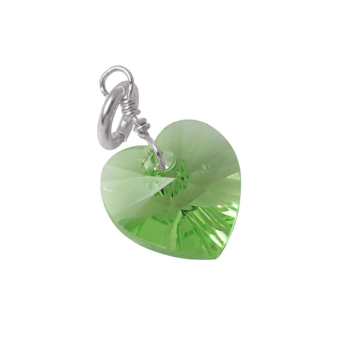 Sterling Silver August Peridot Crystal Heart Charm