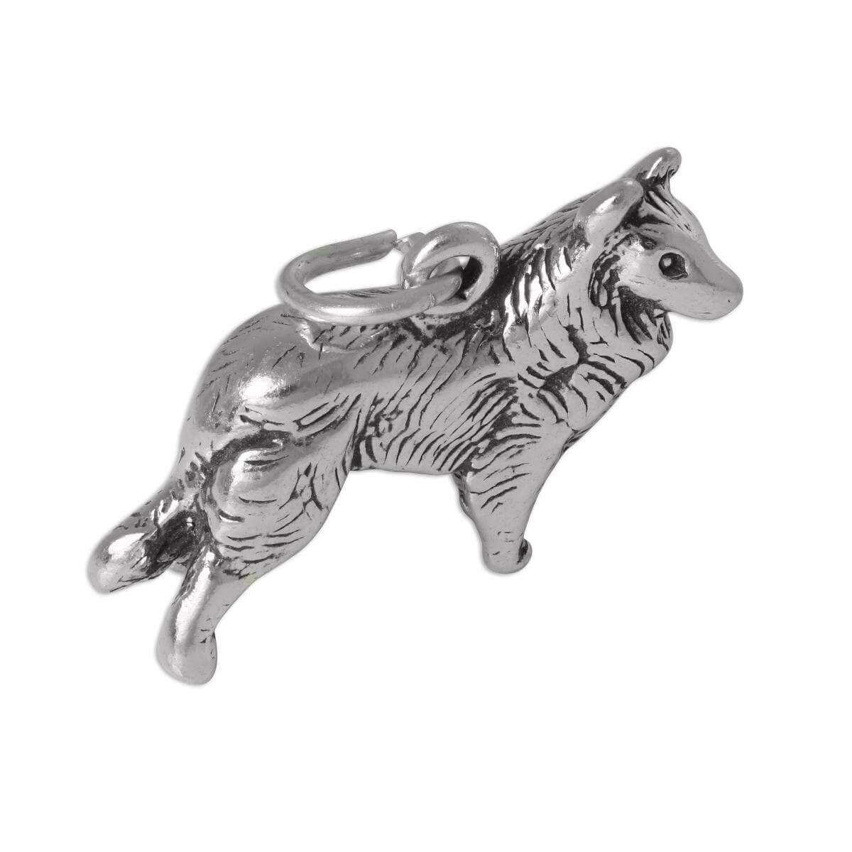 Sterling Silver 3D Border Collie Charm