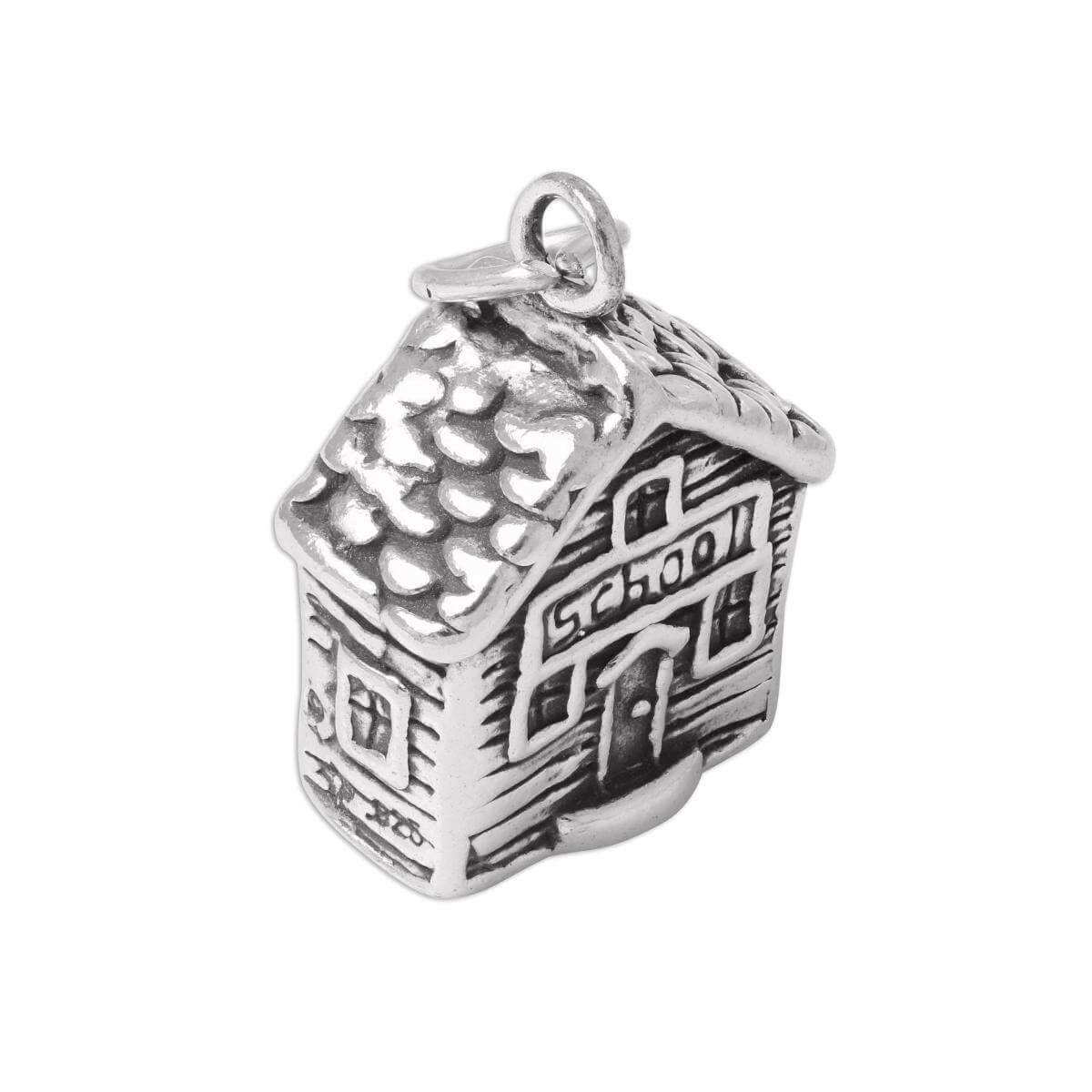 Sterling Silver 3D School House Charm