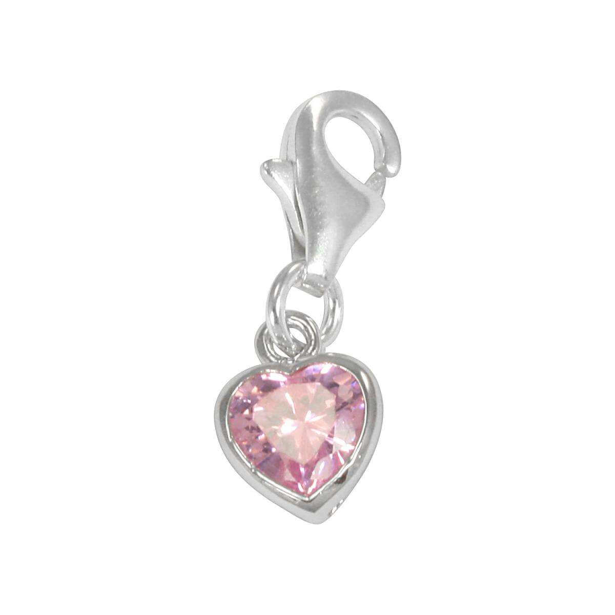 Sterling Silver Pink Heart Crystal Clip on Charm