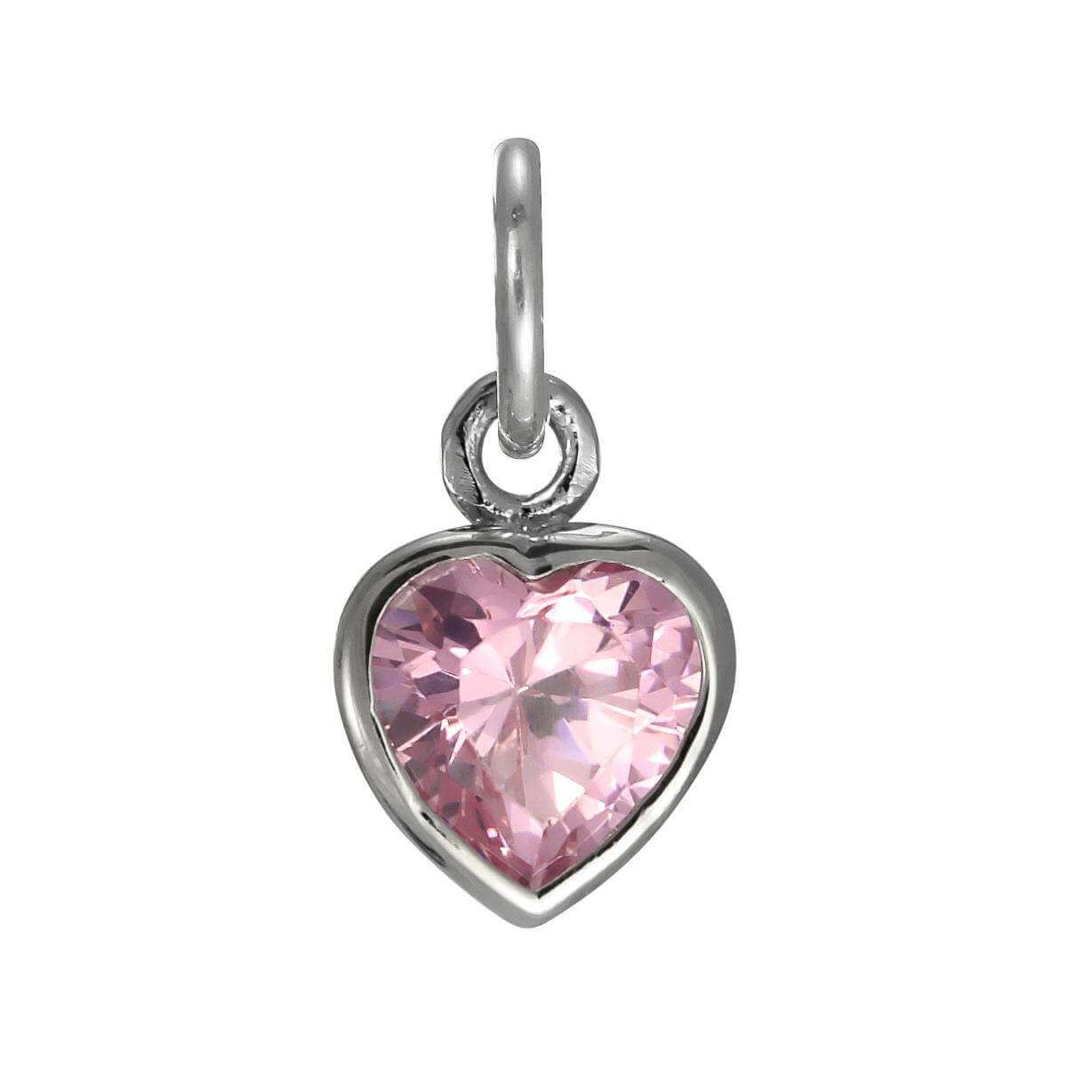 Sterling Silver Pink Heart Crystal Charm