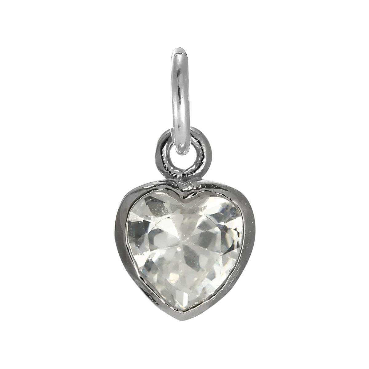 Sterling Silver Heart Crystal Charm