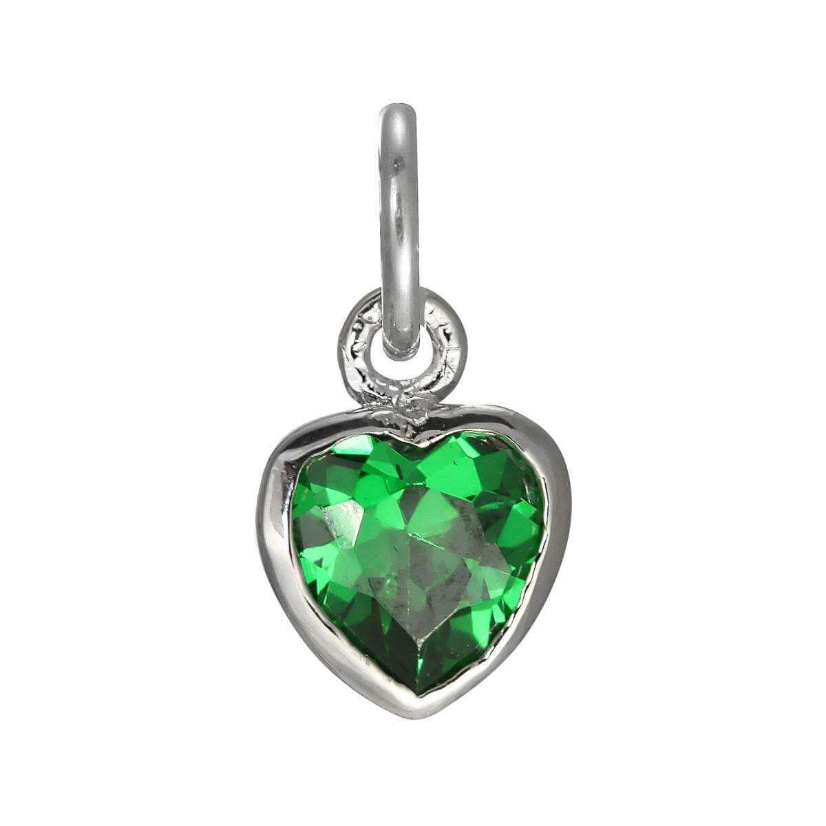 Sterling Silver Emerald Green Heart Crystal Charm