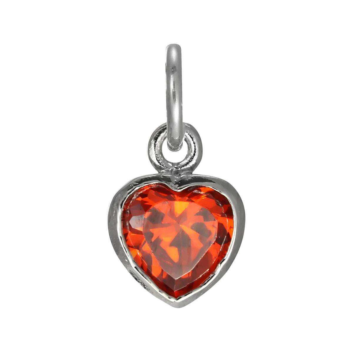 Sterling Silver Siam Red Heart Crystal Charm