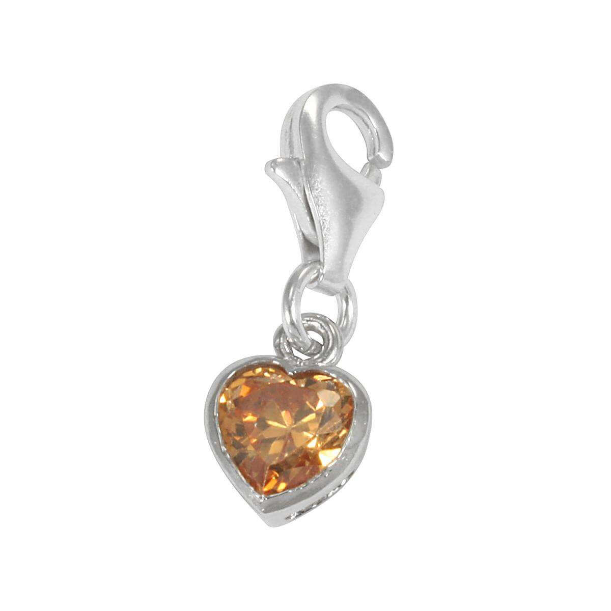Sterling Silver Topaz Heart Crystal Clip on Charm