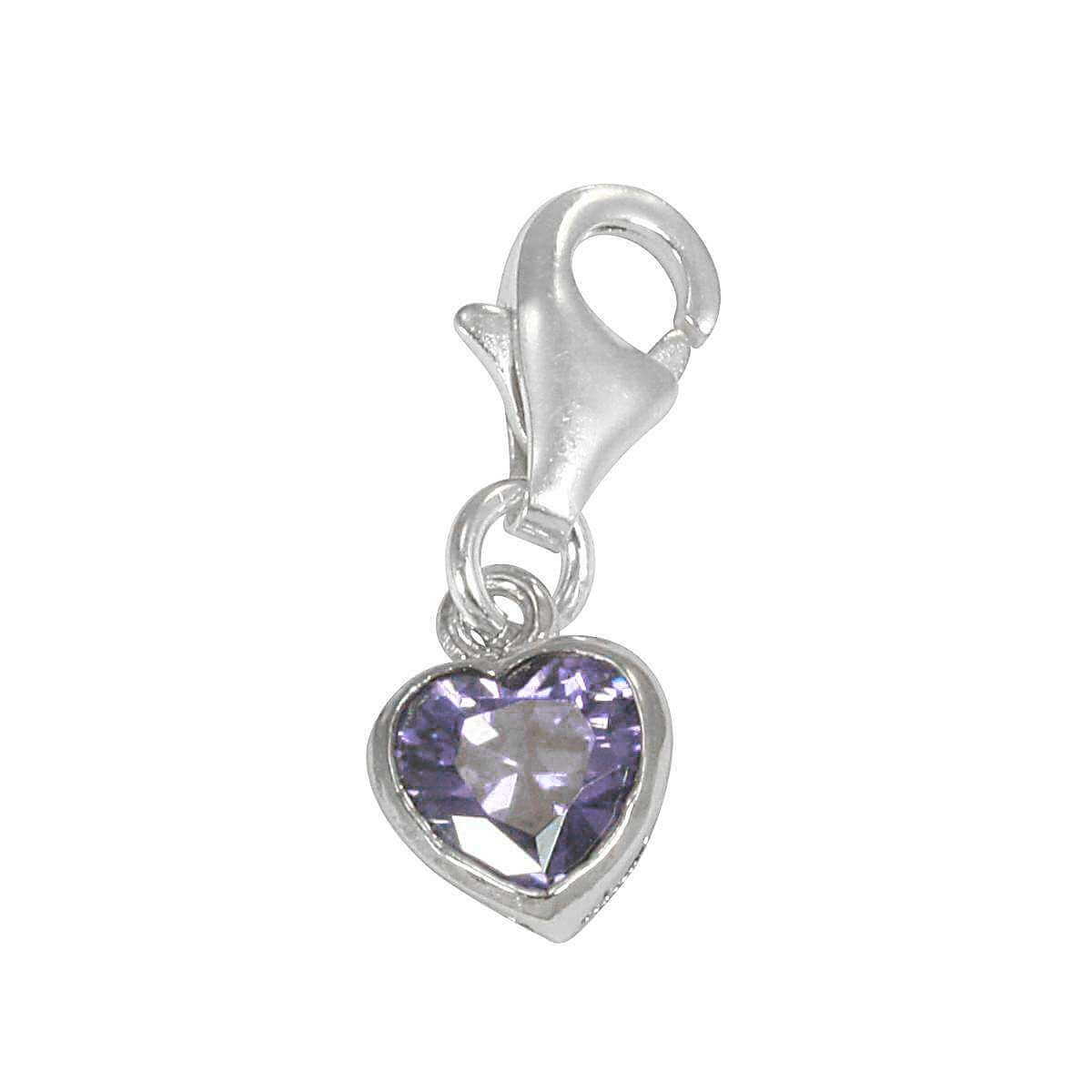 Sterling Silver Purple Heart Crystal Clip on Charm