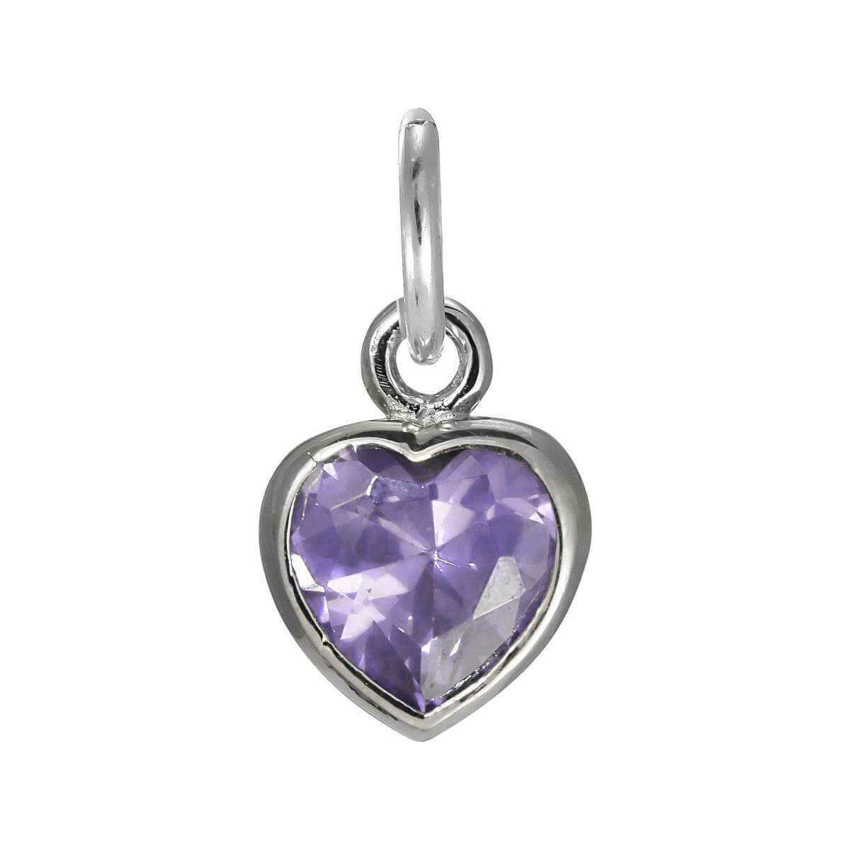 Sterling Silver Purple Heart Crystal Charm